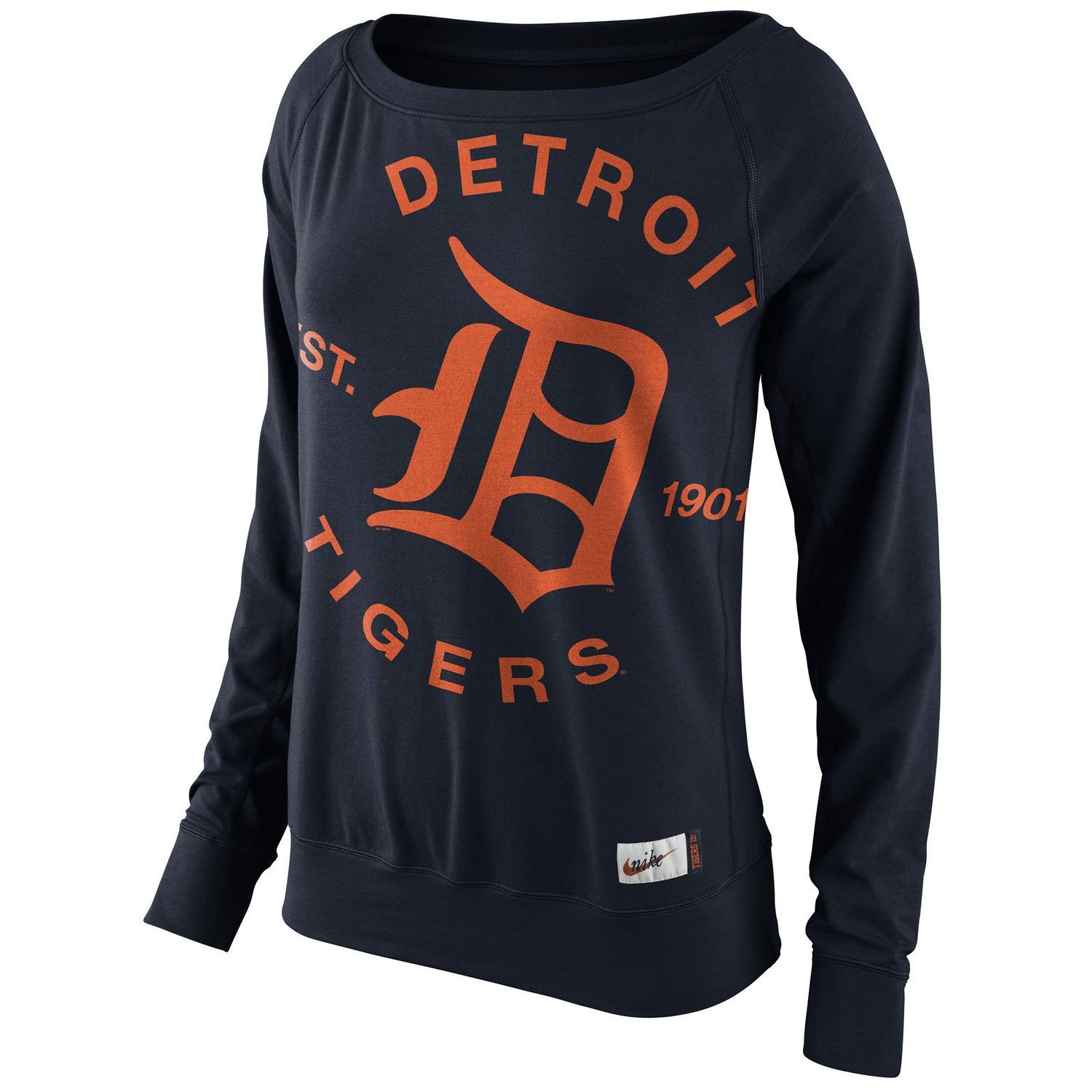 b6b3954a3 Women s Detroit Tigers Nike Navy Cooperstown Collection Washed Epic Crew  Fleece Sweatshirt