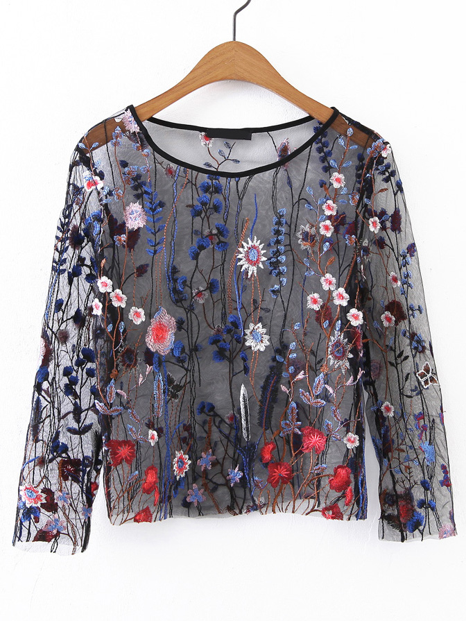 20c99d3a0 Shop Long Sleeve Embroidery Mesh Top online. SheIn offers Long Sleeve  Embroidery Mesh Top & more to fit your fashionable needs.