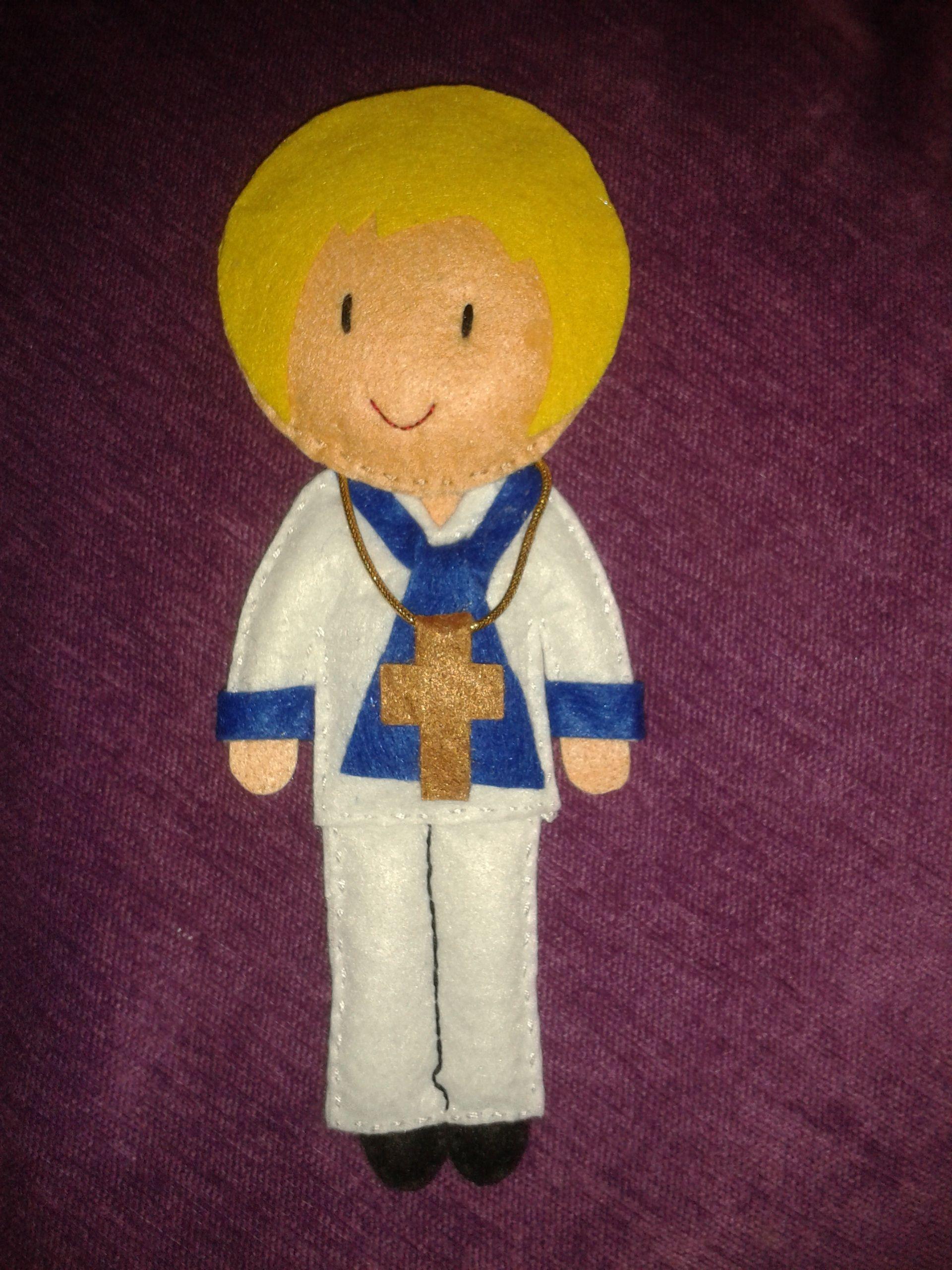 muñeco niño comunión de 20cms. personalizado con nombre y fecha