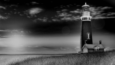 beautiful lighthouse in black and white - grass, lighthouse, photo, sky