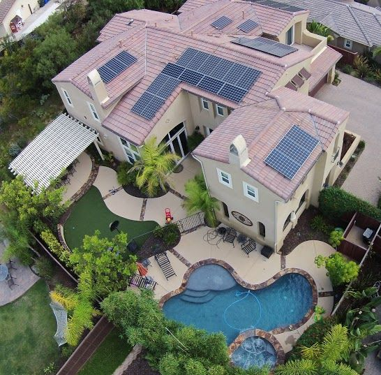 Nice aerial photo of a solar panel installation.