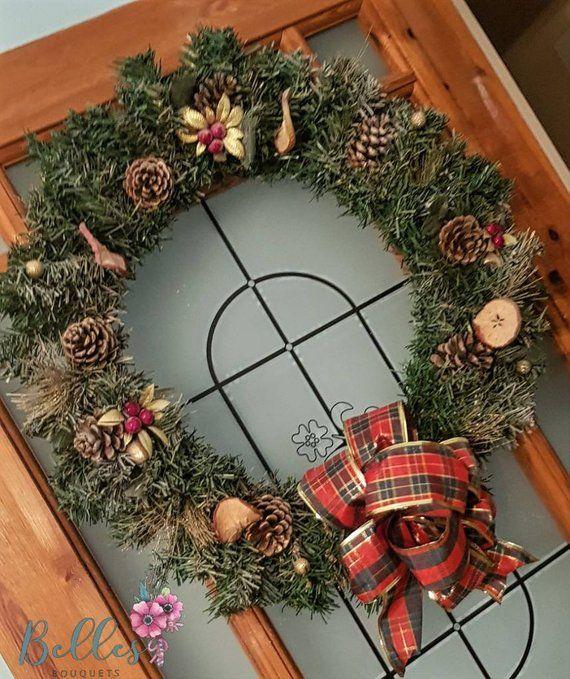 Artificial Traditional Christmas Tartan Door Wreath With