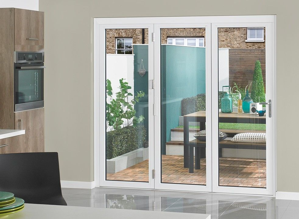 Vufold supreme aluminium bi fold doors 7ft white for Folding french doors