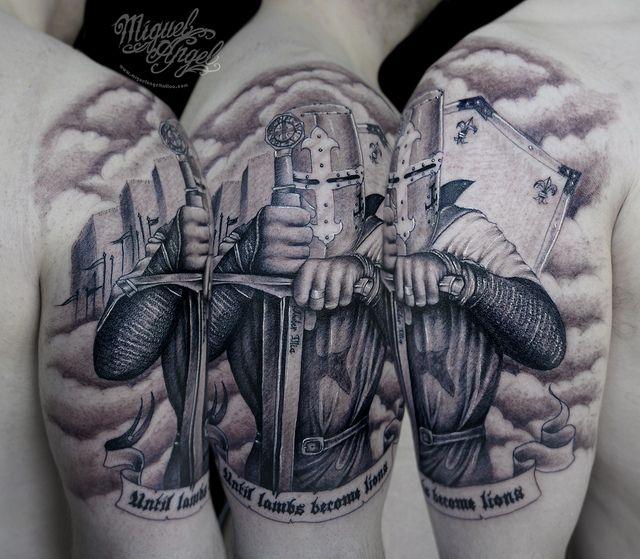 custom knight templar tattoo by miguel angel tattoo via. Black Bedroom Furniture Sets. Home Design Ideas