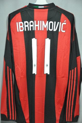 AC Milan Ibrahimovic Home Long Sleeves Jersey Shirt Replica 2010 2011 Italy Series A Euro Champion League – Nice Day Sports