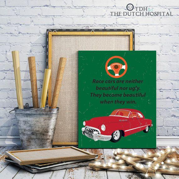Vintage Cars Red Car Quotes Retro Transportation Boy Nursery