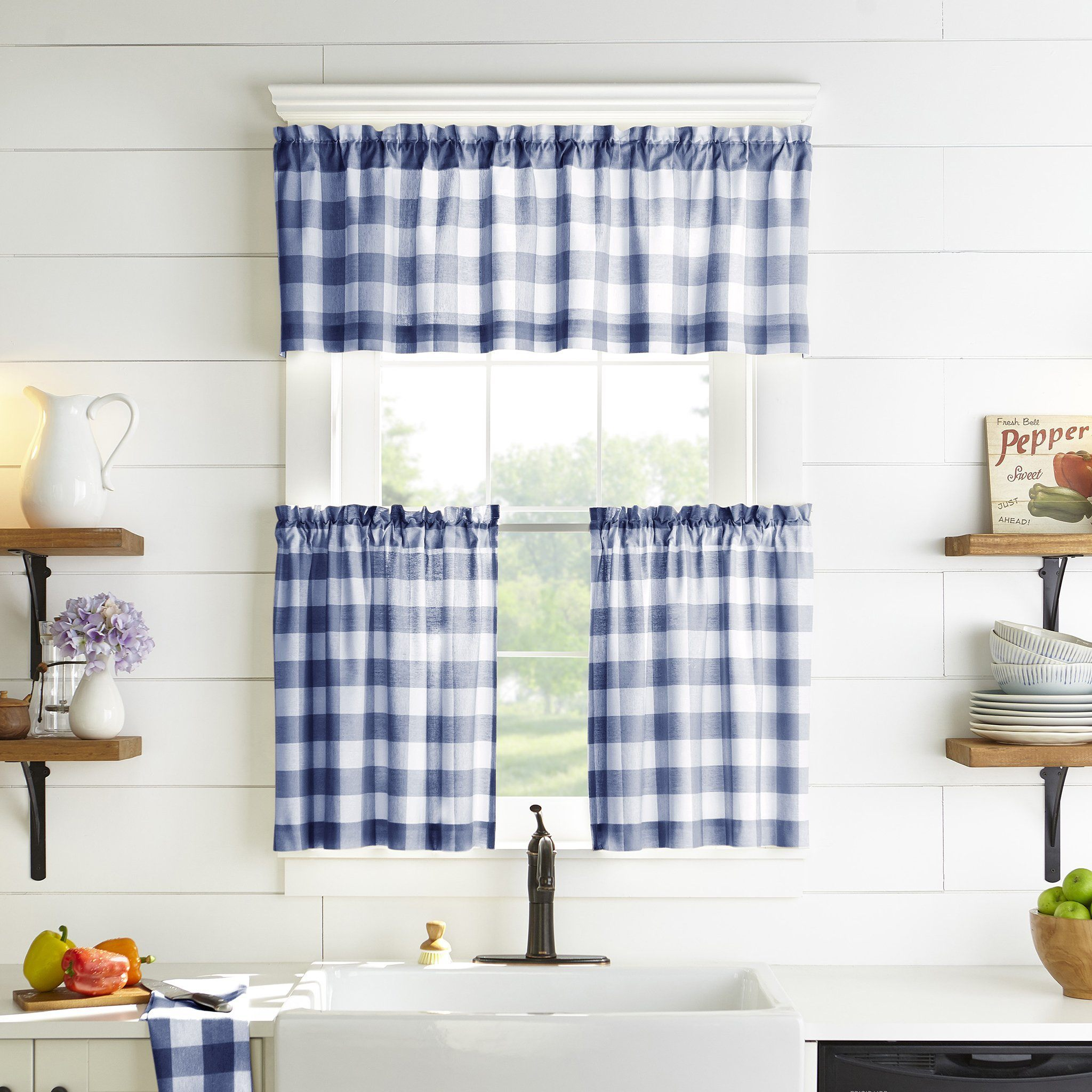 Farmhouse Living Buffalo Check Kitchen Window Collection In 2020 Elrene Home Fashions Cafe Curtains Kitchen Curtains