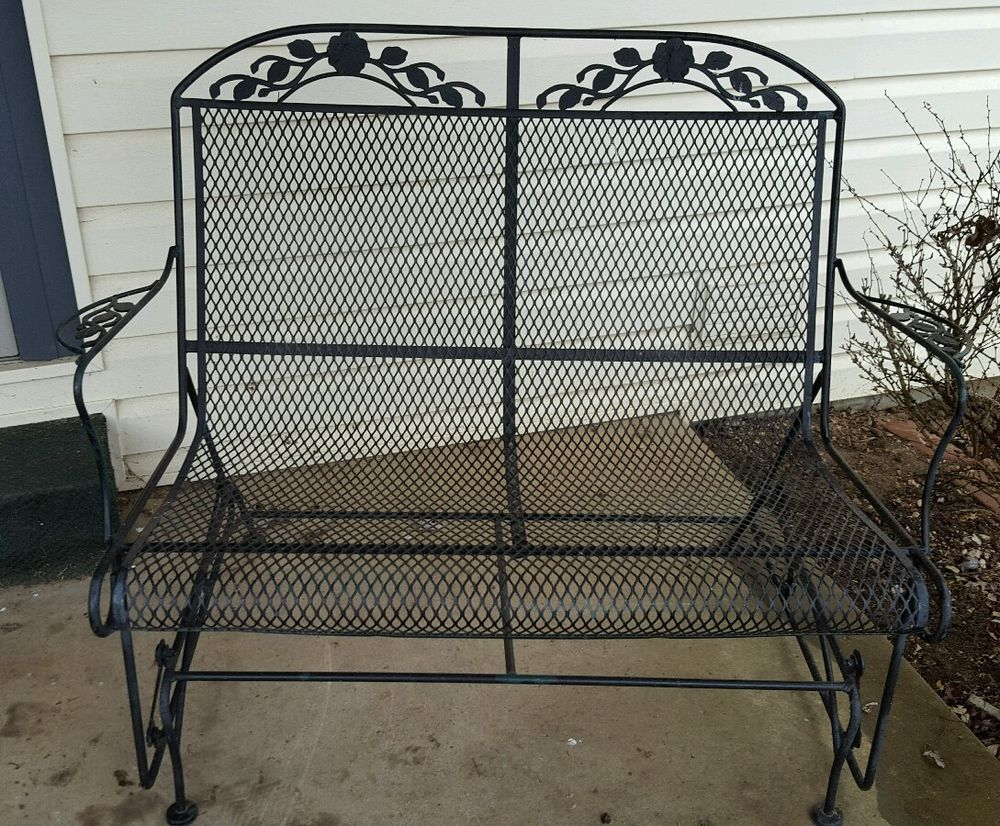 wrought iron glider chair