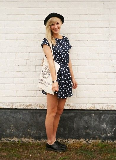 Dotted Dress Fabric Bag Dr Martens Low Black Docs Black Hat