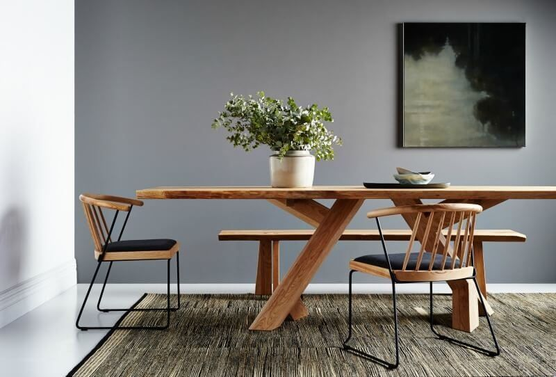 Wooden Handcrafted Dining Table And Chairs With Rounded Back From