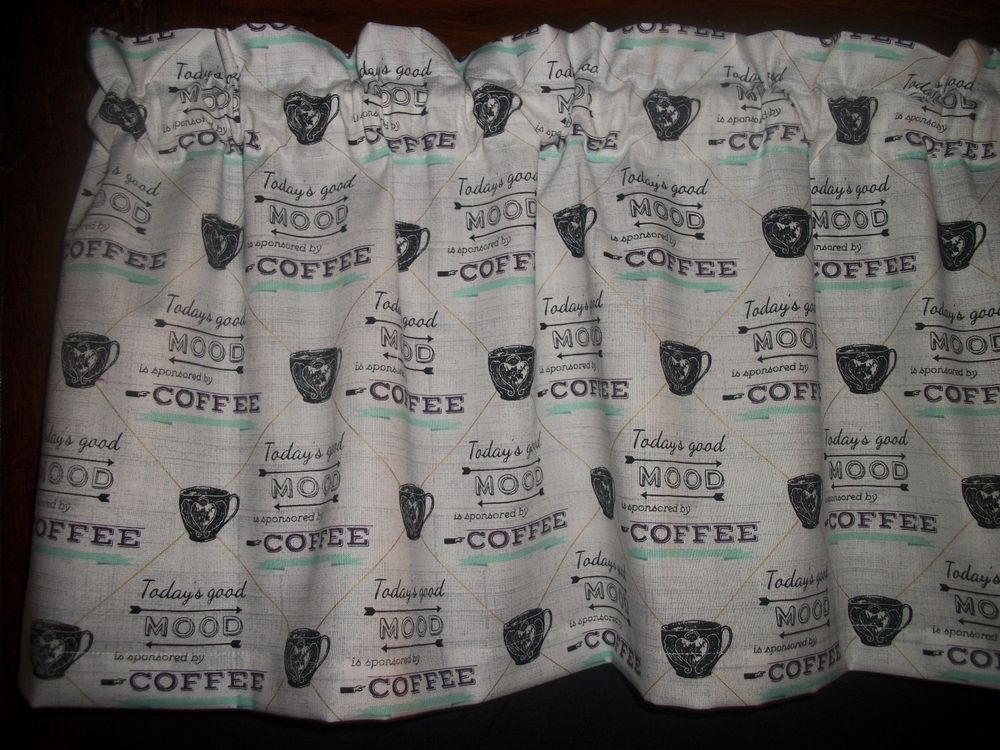 Retro Coffee Cup Shop Store Kitchen Fabric Curtain Topper Valance