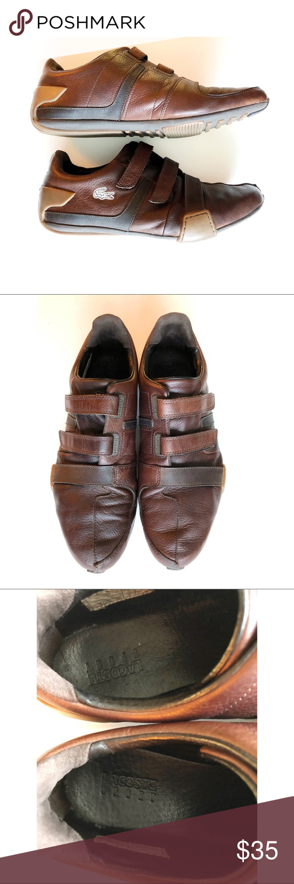 0fa7122bacd3 Lacoste Men s Brown Leather Velcro strap sneakers Very cool Men s Brown  Leather Lacoste Velcro sneakers.