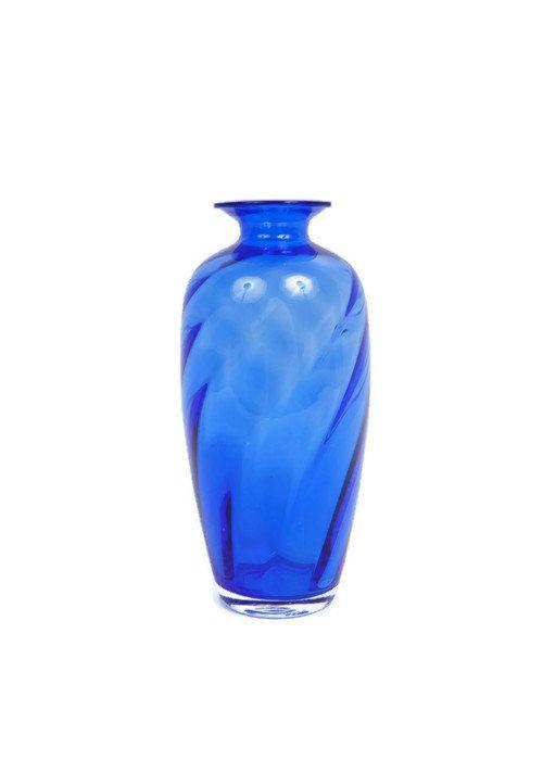 Vintage Bristol Blue Glass Vase Cobalt Blue By Levintagegalleria