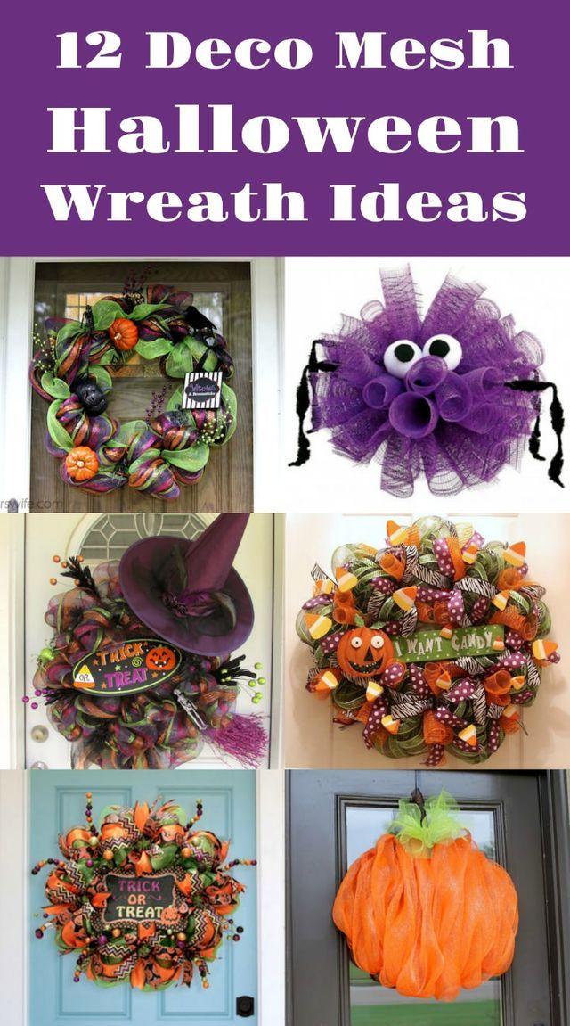 12 DIY Deco Mesh Wreaths for Halloween