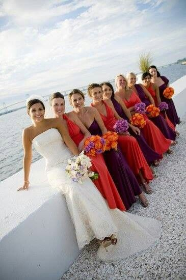Sunset wedding colors bridesmaid dresses