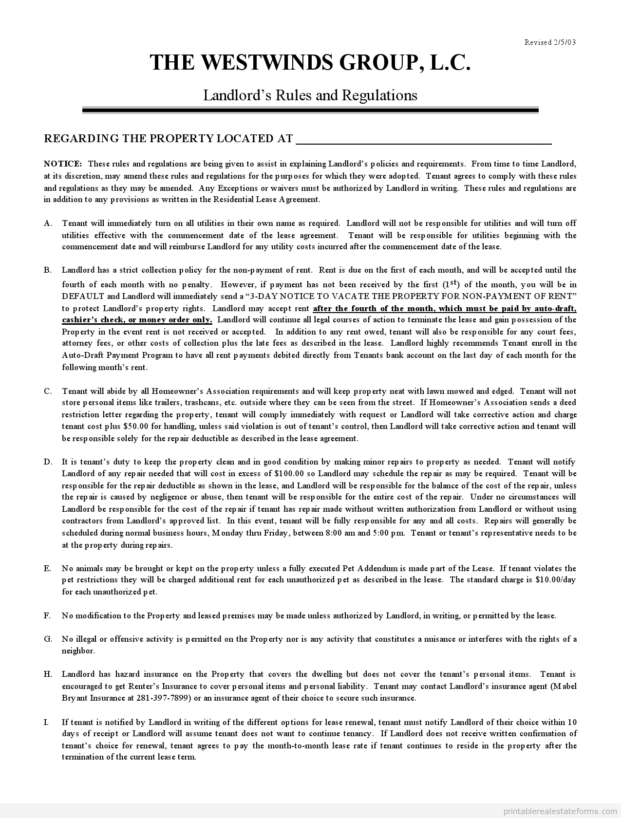 Sample Printable landlords rules and regulations Form | Sample ...