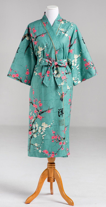 Kimono Robe Lined Robe Long Womens Mid calf robe Bathrobe Maternity ...