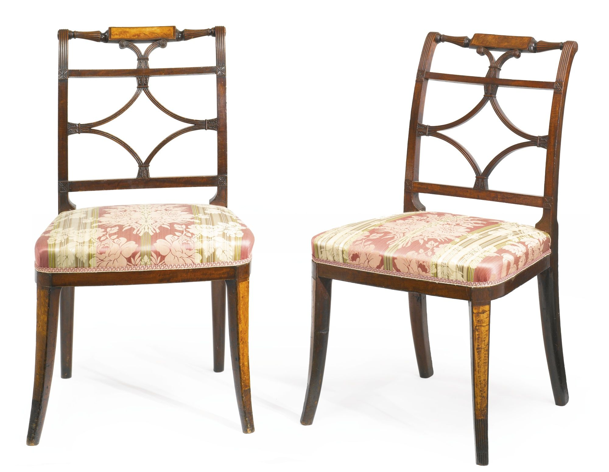 A Very Fine And Rare Pair Of Federal Satinwood Inlaid And Carved Mahogany Sabre Leg Side Chairs Attributed To Thomas S Side Chairs Chair Furniture Design