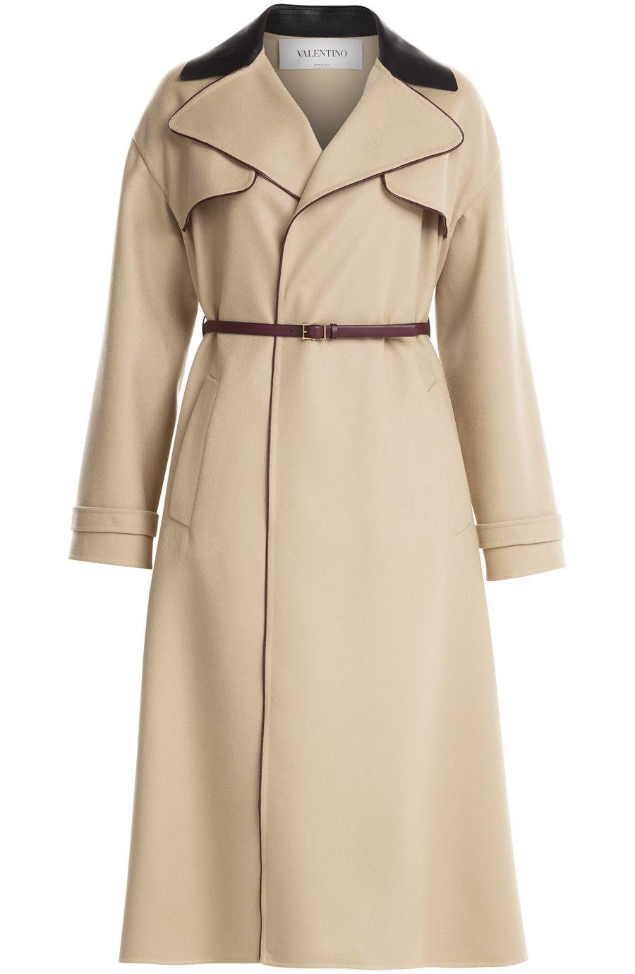 2e50edd70413 VALENTINO Wool Coat With Leather Trim.  valentino  cloth  coats ...