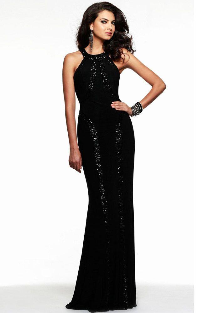 Sequin Trim Wondrous Jersey Gown