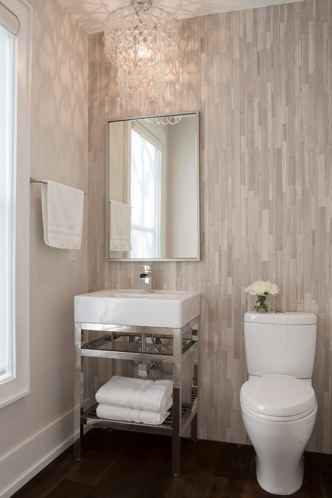 Powder Room Tile Wall Powder Room Transitional With Glass