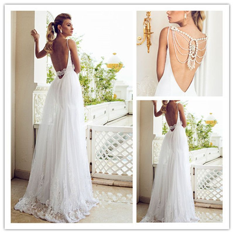 A Line V-Neck Spaghetti Strap Wedding Dress