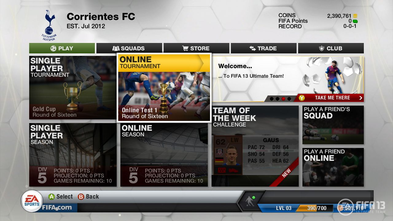 FIFA 13 Ultimate Team Main Page Fifa, Fifa 13, Online
