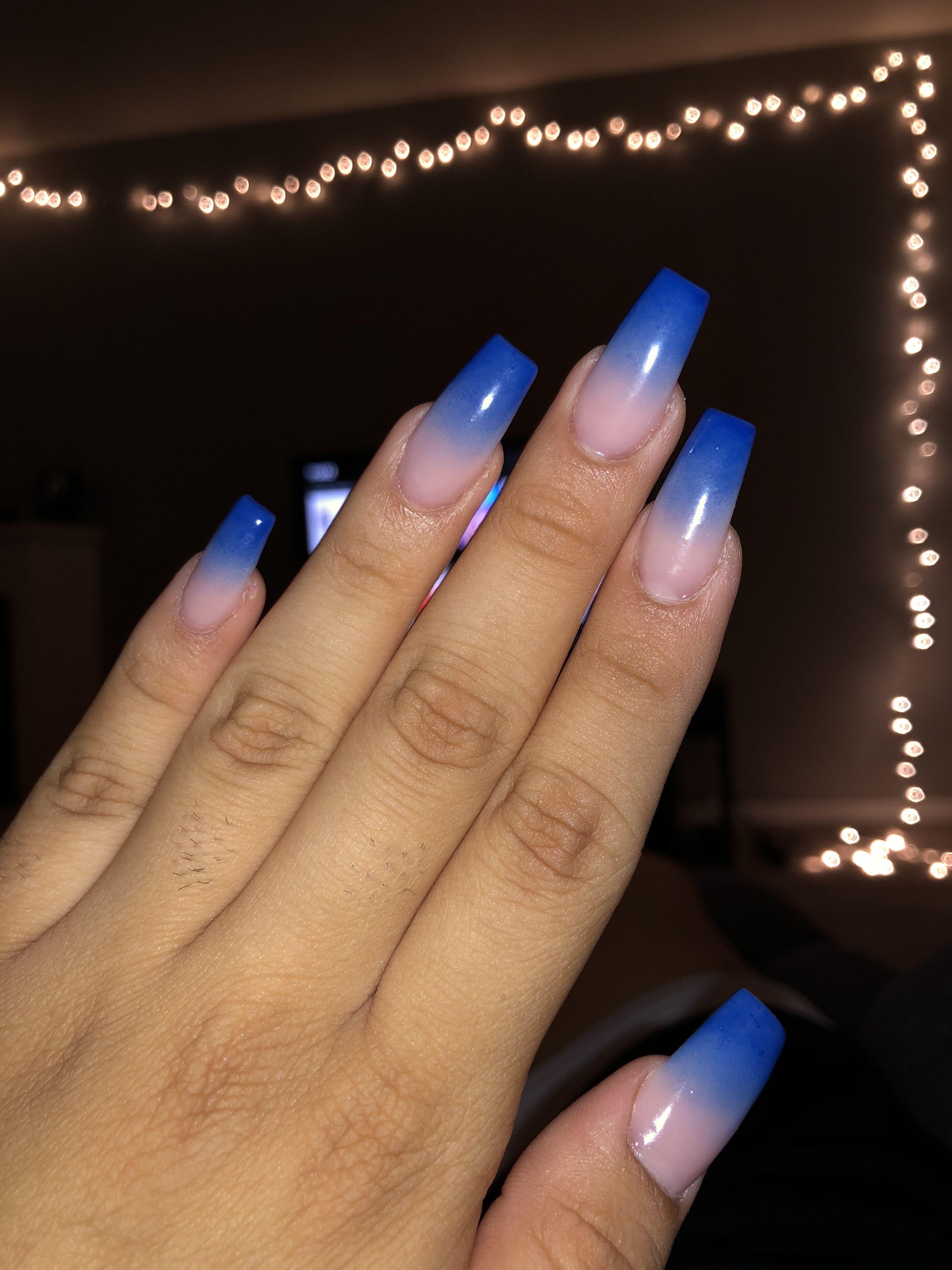 Royal Blue Fade Faded Nails Beauty Nails Nail Designs