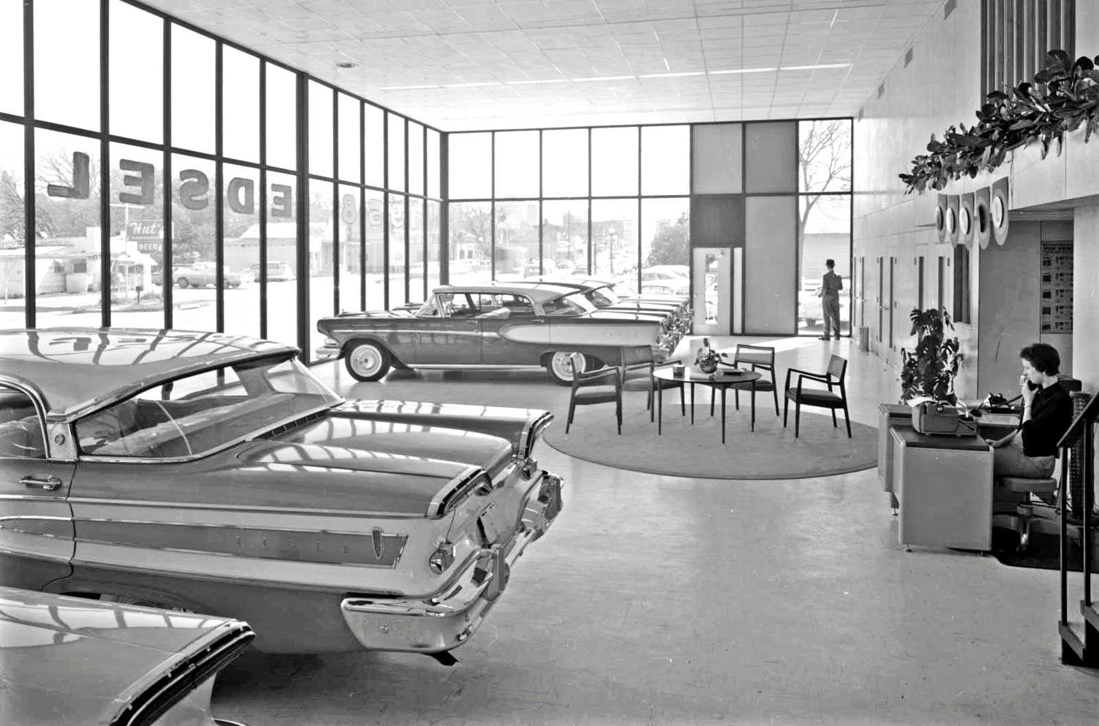 1958 Swearingen Bros Edsel Dealership Austin Texas Edsel Car Dealership Vespa Vintage