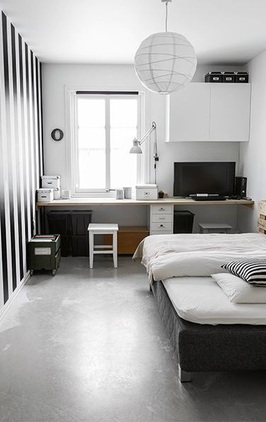 Noir et blanc graphique pour une chambre d 39 ado atypique - Chambre ado fille noir et blanc ...