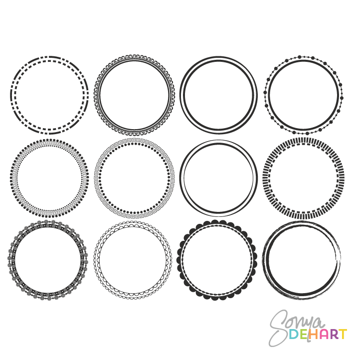 vector clip art round circle frames
