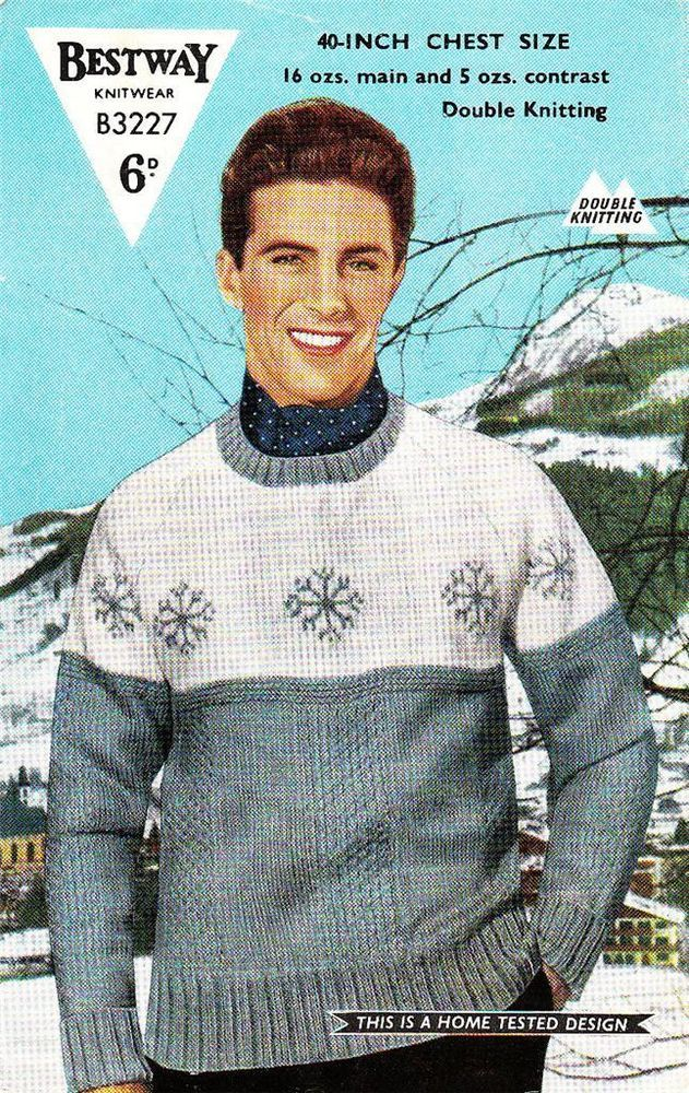 Vintage 1950 S Fair Isle Winter Ski Snowflake Jumper Knitting