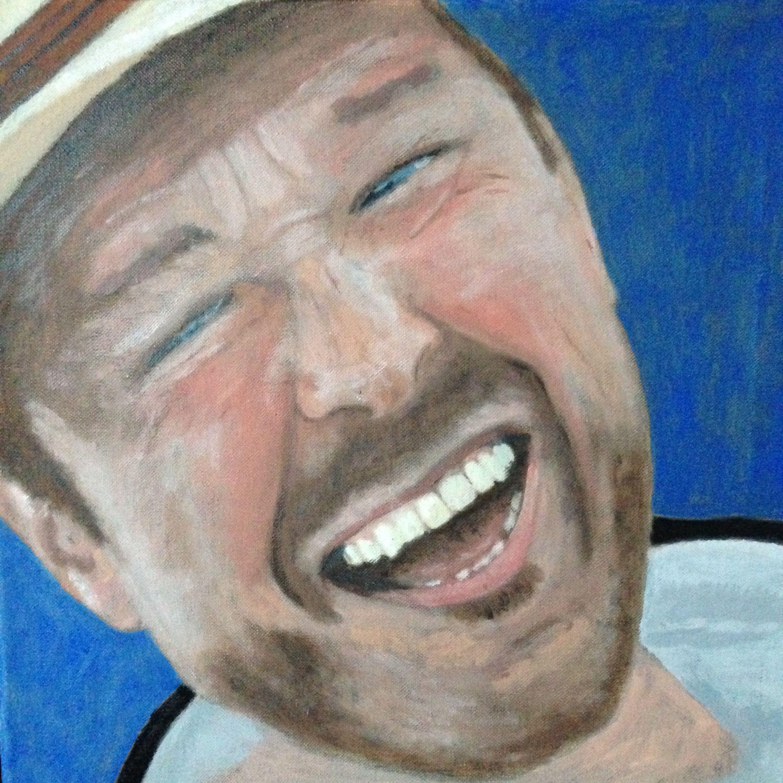 Mijn Lachende Man. Olieverf Op Karton. 40 Bij 40 Cm