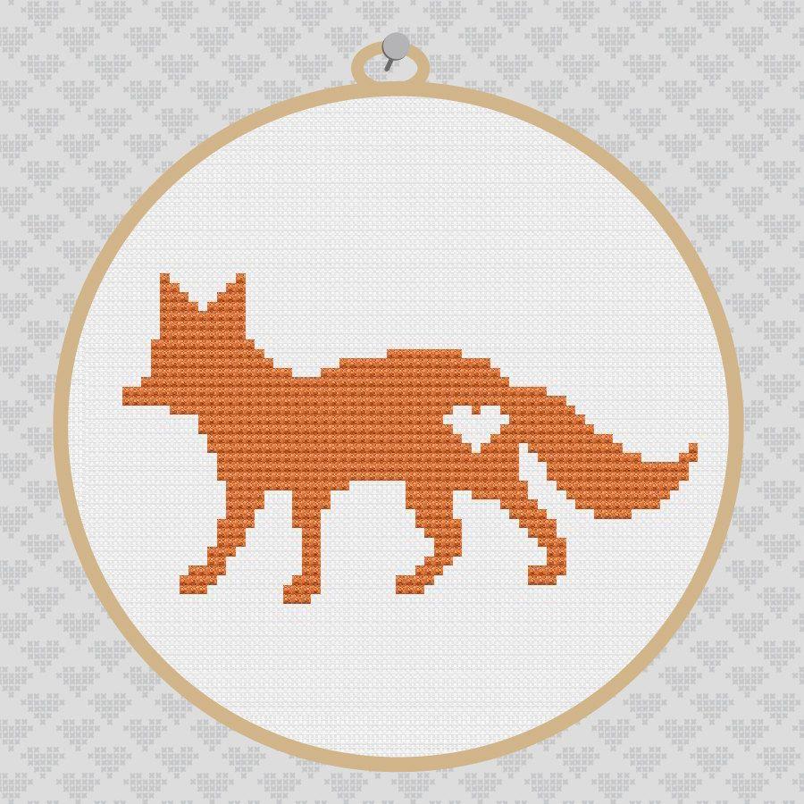 Fox Silhouette Cross Stitch PDF Pattern | Aritos y Bordado