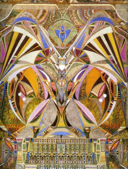 """Augustin Lesage (French, 1876-1954) - An outsider artist who produced over 800 canvases with the guidance of voices he heard. The term outsider art was coined by art critic Roger Cardinal in 1972 as an English synonym for art brut (French: [aʁ bʁyt], """"raw art"""" or """"rough art""""), a label created by French artist Jean Dubuffet to describe art created outside the boundaries of official culture."""