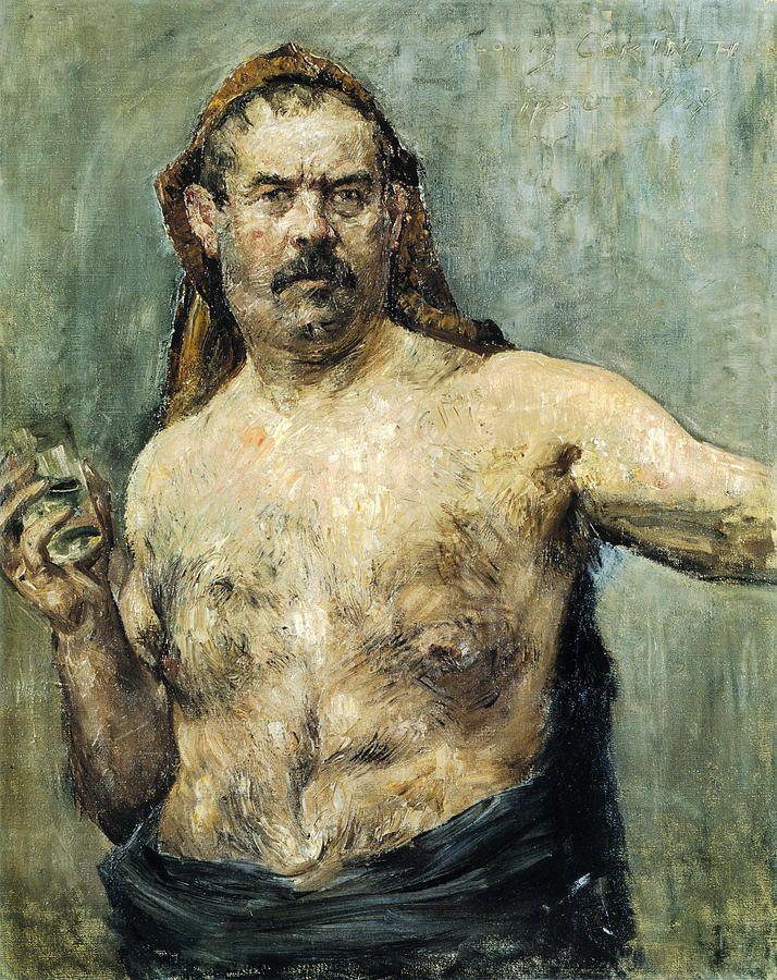 Lovis Corinth: Self-portrait With Glass Painting by Lovis Corinth