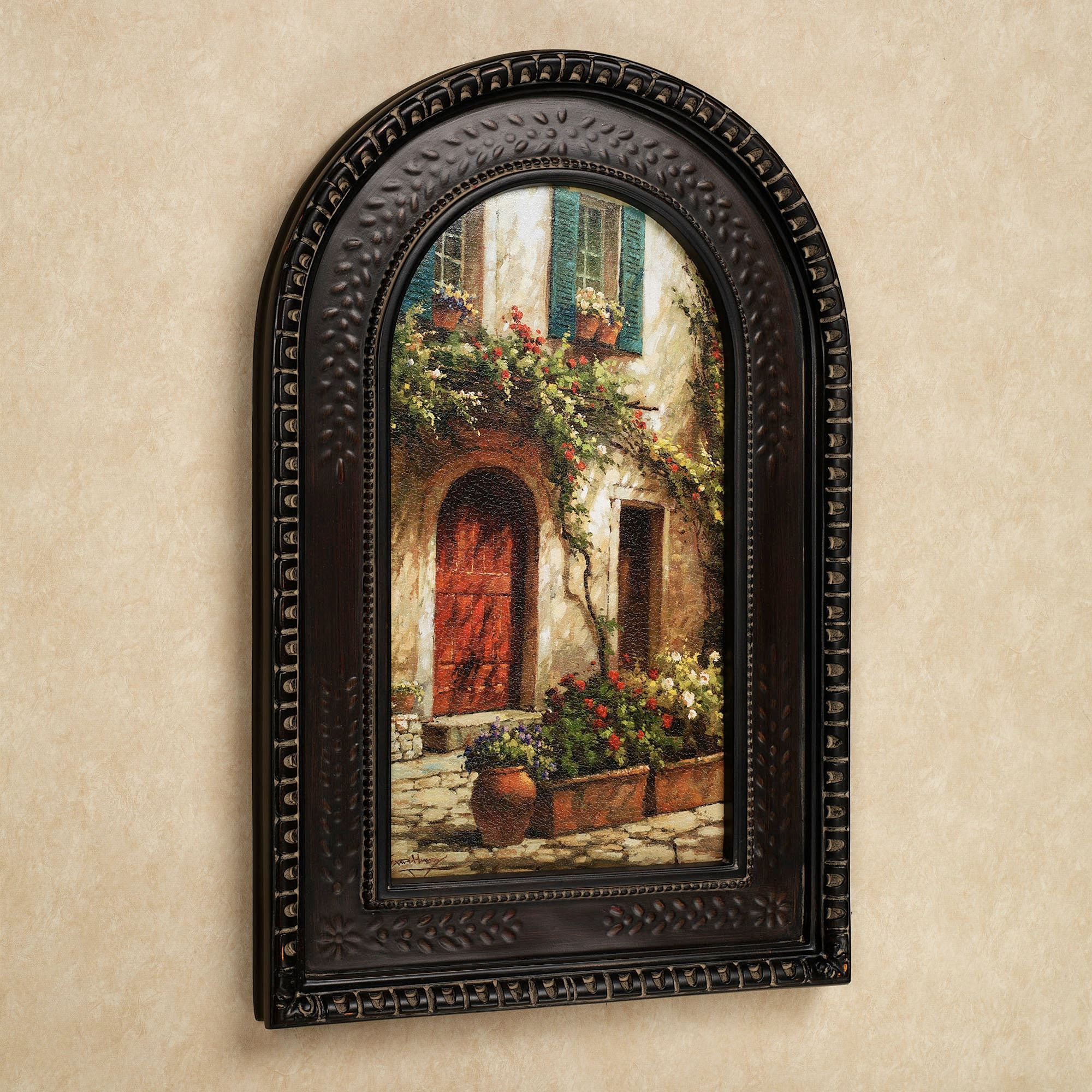 red door italian scene arched framed wall art tuscan on wall hangings id=18915