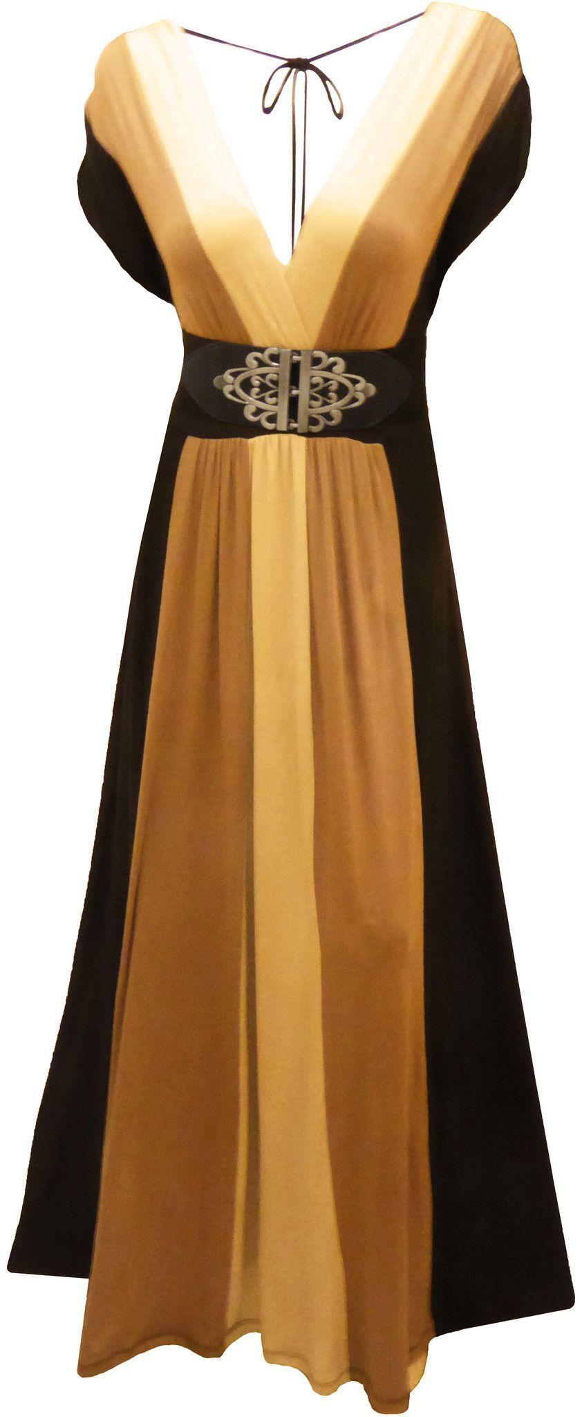 Plus size clothing black color block long maxi womenus plus size