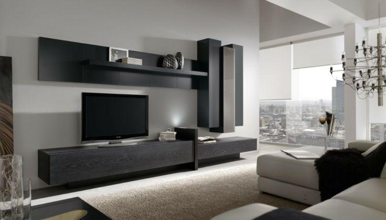 Mobili sospesi soggiorno di legno e colore nero divano bianco e