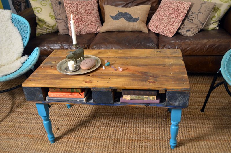 Use A Wooden Pallet To Make This Colorful Coffee Table