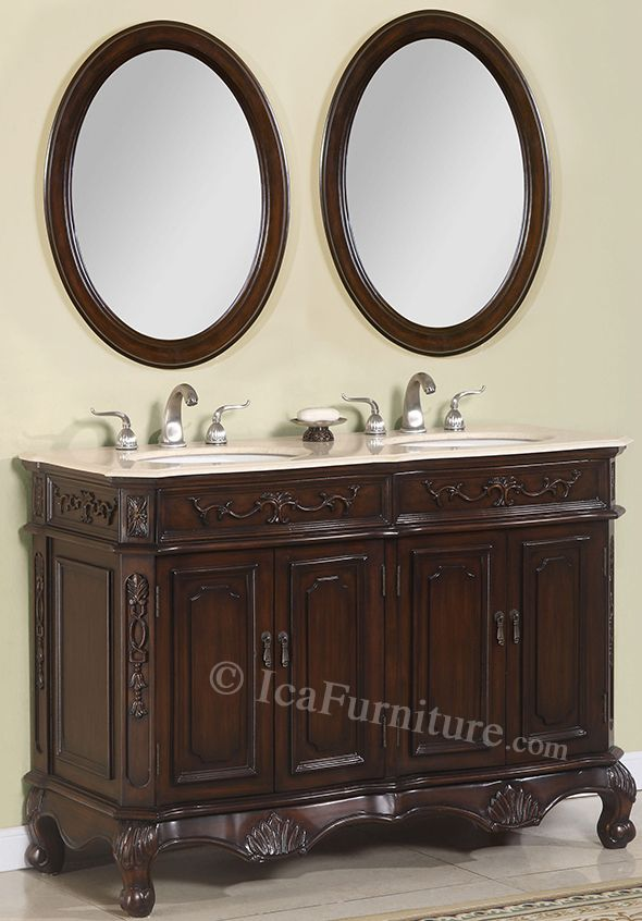 Pre Order 50 Inch Double Vanity With Mirrors Brown Cabinet
