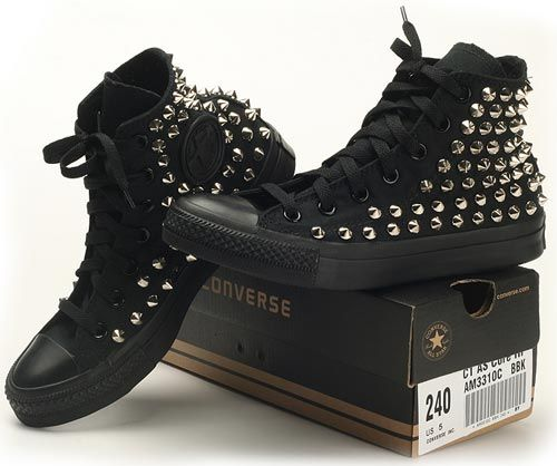 a3429c71611 Custom Made Genuine A Black Converse Silver Spike Stud Punk Rock Fashion  Sneaker