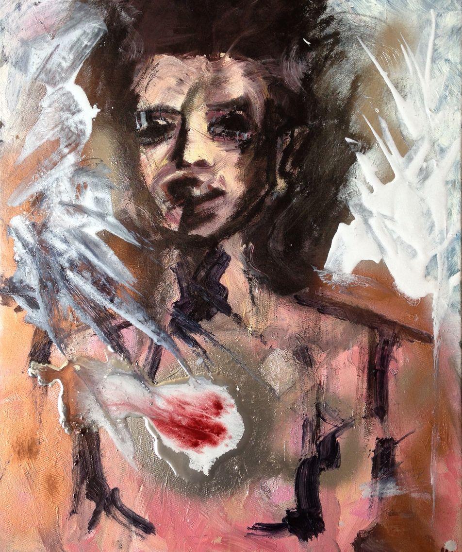 Bleeding Heart, oil and spray paint