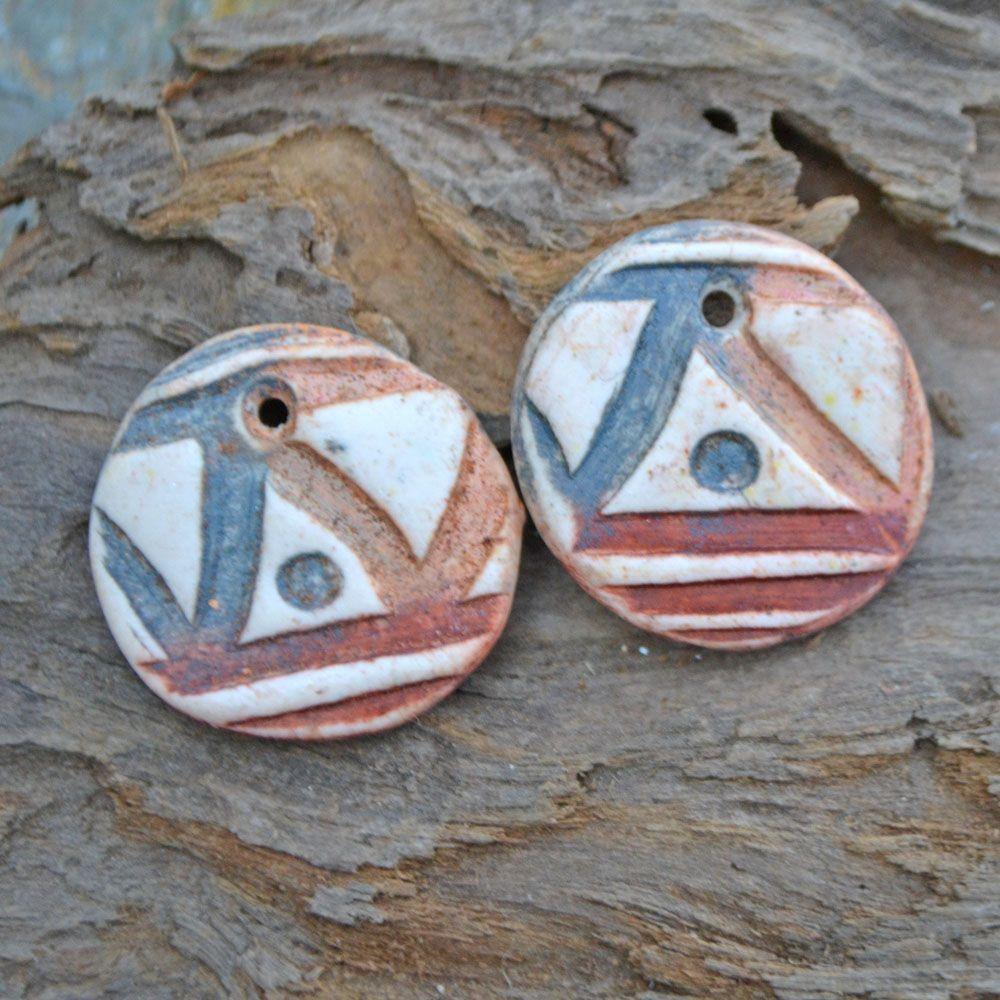 Handmade Marsala Wrapped Sea Urchin Disc Earrings