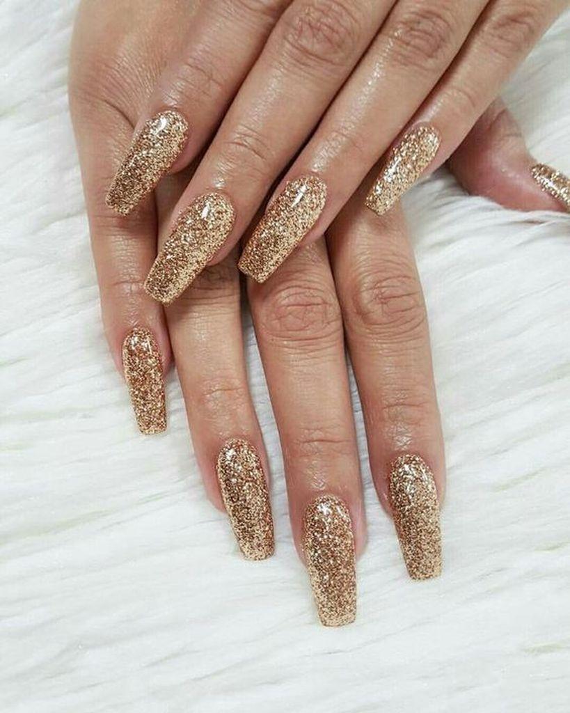 Glitter Gold Acrylic Nails