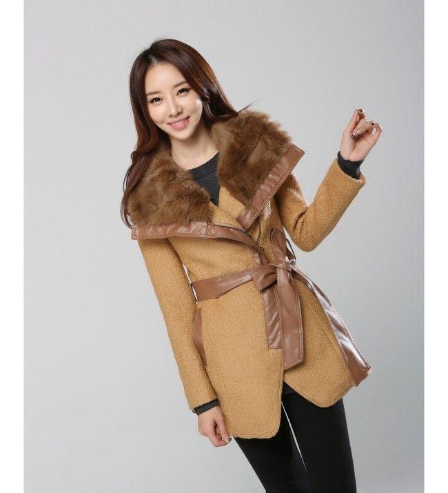 Fashion Stitching Leather Woolen Coat