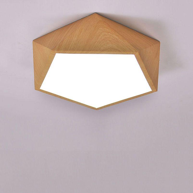 Creatieve hout led plafondlamp Geometrische lamp moderne woonkamer ...