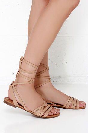 f76a727e0a953b Desert Highness Natural Leg Wrap Sandals at Lulus.com!