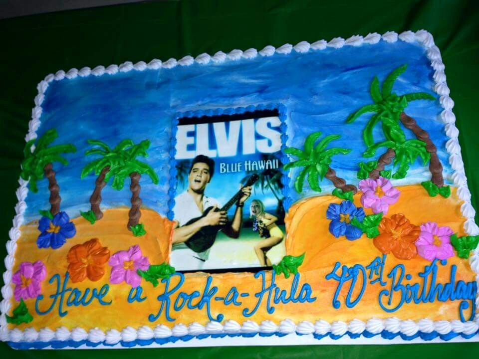 Blue Hawaii Elvis luau birthday cake Blue Hawaiian Elvis party