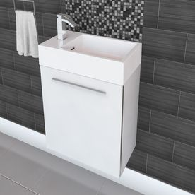 Cutler Kitchen Bath Boutique White Single Sink Vanity With White Cultured Marble Top Common 18 In X 10 In Lowes Com Space Savers White Vanity Bathroom Marble Vanity Tops